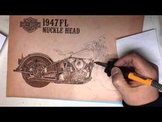 LEATHER BURNING HARLEY DAVIDSON 1947FL NUCKLEHEAD -Pyrography Art- - YouTube