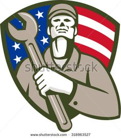 Illustration of a mechanic worker wearing hat holding wrench on chest looking up set inside shield crest with american USA flag stars and stripes in the background done in retro style.  - stock vector #mechanic #retro #illustration