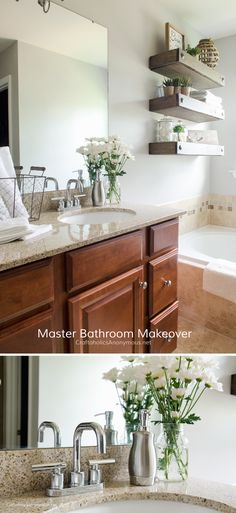 Love the 3 floating wood shelves for the bathroom! Great DIY project.