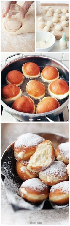 Berliner Recipe Doughnut Lovers Delight Video Tutorial Custard-filled donuts, Berliner Pfannkuchen in German Just Desserts, Delicious Desserts, Dessert Recipes, Yummy Food, Custard Desserts, Think Food, Love Food, Donut Recipes, Gastronomia