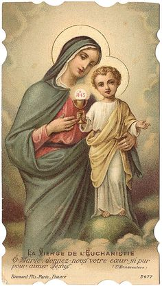 French Antique Holy Prayer Card Mary & Baby by VintagePaperAttic