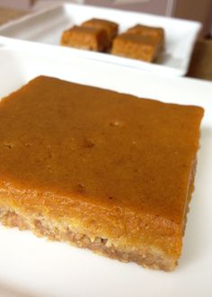 Pumpkin Pie Bars - Silky goodness with an oatmeal crust! Dairy/nut free of course.