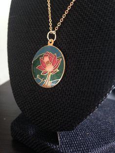 Cloisonne pendant, cloisonne pendants,  flower cloisonne pendant, cloisonné necklace, cloisonné pendants, vintage flower cloisonné  N74 by DuckCedar on Etsy