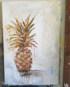 いいね!105件、コメント7件 ― Kym De los Reyes - Artistさん(@kymdelosreyesart)のInstagramアカウント: 「PINK PINEAPPLE  36x24  originalart #hawaii #pineappleportrait #hospitality  #coastalpalette…」
