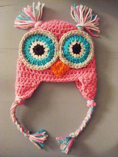 Crochet Baby Girl Owl Beanie Hat SIZES NEWBORN12 by wadamska, $20.00