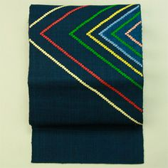 Navy, hassun nagoya obi / 紺地色 刺繍の多色線柄 お太鼓柄八寸名古屋帯