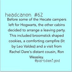 This is completely amazing. Oh my gods! The Hecate campers are wizards! Wait, is that....no way! Merlin's beard, it's Ron Weasley! :-)