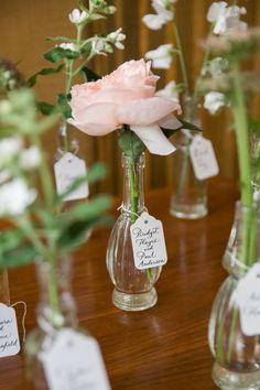 Bud Vases & Posies for Escort Cards. See more of the wedding here: http://www.StyleMePretty.com/2014/05/19/bohemian-wedding-at-the-crane-estate/ Photography: NedJackson.com  - Wedding Planning: LinneaTangorra.com