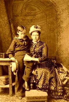 Grand Duchess Alice of Hesse (Darmstadt) and By Rhine and her son Hereditary Grand Duke Ernst Ludwig of Hesse (Darmstadt) and By Rhine in Prince Frederick, Frederick William, Princess Alice, Grand Duke, Prince Albert, Victorian Women, Queen Victoria, Royalty, Vintage