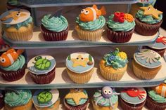 """Photo 33 of Under the Sea / Baby Shower/Sip & See """"Under the Sea Baby Shower"""" Ocean Theme Cupcakes, Sea Cupcakes, Themed Cupcakes, Shower Party, Baby Shower Parties, Baby Showers, Cupcake Party, Cupcake Cakes, Under The Sea Party"""