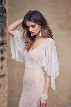 bohemian lace dress with dreped sleeves