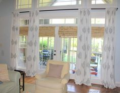 transom window treatments | Panels and shade combination.