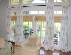 transom window treatments   Panels and shade combination.