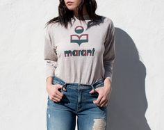 Isabel Marant   chalk long sleeve tee with black and red logo