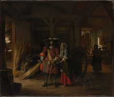 Paying the Hostess  Pieter de Hooch  (Dutch, Rotterdam 1629–1684 Amsterdam)    Date:      ca. 1670  Medium:      Oil on canvas  Dimensions:      37 1/4 x 43 3/4 in. (94.6 x 111.1 cm)  Classification:      Paintings  Credit Line:      Gift of Stuart Borchard and Evelyn B. Metzger, 1958  Accession Number:      58.144    This artwork is currently on display in Gallery 613
