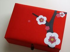 Red Cherry blossoms Jewelry Box: Silk Jewelry Box