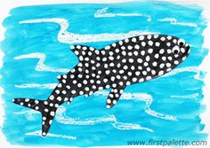 Crayon Resist Whale Shark craft with template and step by step instructions by firstpalette - recommended by Charlotte's  Clips