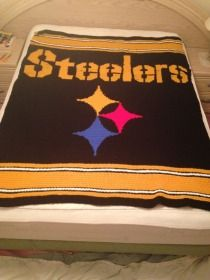 Pittsburgh Steelers Afghan. Can someone learn to make this for me.
