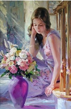 """The Purple Vase"" by Vladimir Volegov, painting, cm, oil on canvas Woman Painting, Figure Painting, Painting & Drawing, Paintings I Love, Beautiful Paintings, Vladimir Volegov, Purple Vase, Foto Art, Art Moderne"
