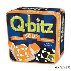 Use Q-bitz Solo as a solitaire challenge or to add another player, a new color and additional pattern cards to the original Q-bitz game. This personal-sized version of our best-selling game includes 20 new pattern cards, a wooden tray, 16 cubes and instructions, all packed in a travel-friendly tin box.
