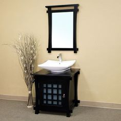 Bellaterra Ancona 29.9-in. Black Single Bathroom Vanity with Optional Mirror - BTH091