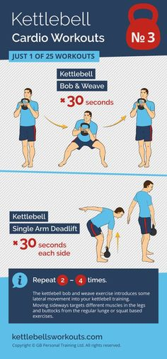 1 of 25 kettlebell workouts that will improve your cardio while activating most of the muscles in your body. #kettlebell #kettlebellworkout #fitness #exercise