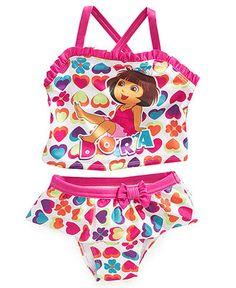 Dora the Explorer Kids Swim, Little Girls Heart-Print Two-Piece Swimsuit - Kids Swimwear - Macy's
