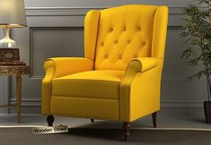 Botox Wingback Chair (Yellow Blush) Lounge Chair Design, Lounge Chairs, Wooden Street, Wing Chair, Sofas, Armchairs, Living Room Chairs, Wingback Chair, Accent Chairs