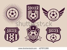 different logos and icons soccer teams,Vintage football sign on field, vector illustration of football, football game, retro football, logo, football, soccer, icon soccer,emblema football team