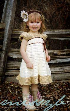 Girls Crochet Dress Pattern - Carlotta Crochet Dress with Sleeves - Make it Any Size - PDF pattern. $5.50, via Etsy.
