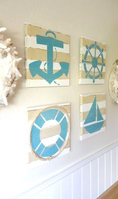 Advice on coastal decor, create your own beach house. Nautical Bathrooms, Nautical Nursery, Nautical Home, Beach Room, Beach Art, Sailor Room, Deco Marine, Diy Décoration, Easy Diy