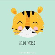 Cute tiger illustration Free Vector