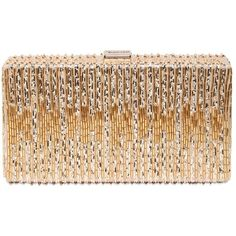 DSQUARED2 Bead Embellished Box Clutch (¥129,645) ❤ liked on Polyvore featuring bags, handbags, clutches, purses, bolsas, accessories, gold, hard clutch, beige handbags and box clutch