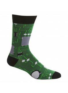 Sock It To Me Socks Men's Crew: Circuit Board I love my socks and funny^^
