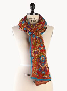Desert Oasis Floral Embroidered Scarf - Clothing ... what indian jewelry would not look great with this ...