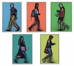 Walking in London 2 (complete suite of 5 works) by Julian Opie on artnet Auctions Walks In London, Daily Walk, Australian Artists, Lineup, Illustrations Posters, Illustrators, Artworks, Auction, Illustrations And Posters