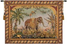 """Le Elephant Woven French Tapestry European Design Wall Hanging Decor H44"""" x W58"""" #EuropeanTapestry #ArtDecoStyle"""
