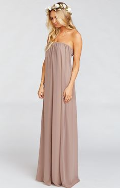 Get ready to float through life in the Sirene Dress.  A basic and an elegant statement piece all rolled into one, the Sirene is a waterfall of delicate fabric cascading from a comfortable elastic band.  Wear with flats for a relaxed look or some fancy wedges to a chic dinner.                                 *MADE IN THE GORGE USA* *100% Poly Chiffon  *Elastic Top Band *Lined to the ground *Mumu Bridesmaid dresses are standard 'long' bridesmaid length. They will fit most heights and heels…
