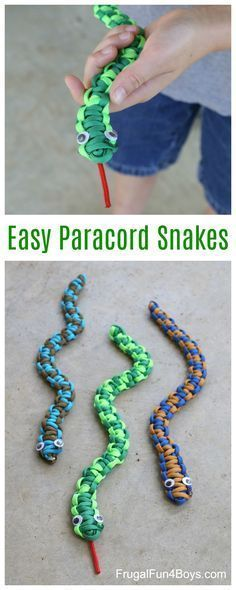 Here's a fun paracord project for kids – make paracord snakes! This would be a great craft project for a summer camp or nature club. Or make them on a rainy day! The completed snakes are fun to play with. This is an easy project for beginners. It may take