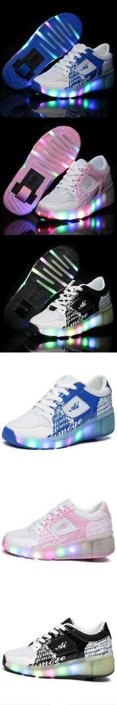 NEW 2016 Child Jazzy Heelys, Junior Girls/Boys LED Light Heelys, Children Roller Skate Shoes, Kids Sneakers With Single Wheels