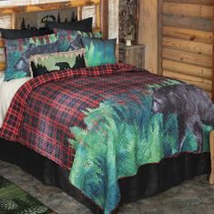 A Black Forest Décor Exclusive - Give your bedroom a lodge feel with this lightweight microfiber polyester collection depicting a large bear and forest scene against a bold plaid backdrop. 100% cotton back with poly fill. Sets include oversized quilt and two shams (twin has one; king has king shams). Machine wash. Black Bear Decor, Black Forest Decor, Quilt Bedding, Bedding Sets, Lodge Bedroom, Quilt Sets Queen, Plaid Quilt, Rustic Bedding, Blanket Cover