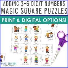 MultiDigit Addition | Distance Learning Google Slides Compatible Activities -  **NO PREP Math Centers, Magic Square Puzzles , 3rd, 4th, 5th grade, Activities, Homeschool, Centers, Test Prep, Stations, Review, Rotations (third, fourth, fifth graders, Year 3, 4, 5, upper elementary, multi digit adding) #Math #UpperElementary Activity Centers, Learning Centers, Math Centers, Critical Thinking Skills, Test Prep, Hands On Activities, Upper Elementary, 5th Grades, Rubrics