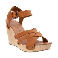 Gap Wooden Wedge Sandals ($70) ❤ liked on Polyvore
