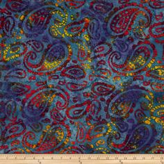 Indian Batik Seycheles Paisley Purple from @fabricdotcom  From Textile Creations, this Indian batik is perfect for quilting, apparel and home decor accents. Colors include shades of blue, shades of purple, shades of brown, shades of red, shades of orange, shades of pink and shades of pink.