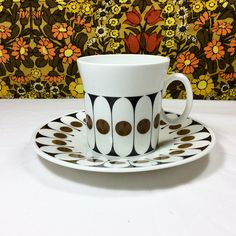 60s Vintage Retro Black Velvet Hostess Tableware China Cup & Saucer 4 Available