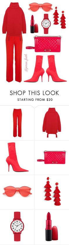 """""""Red Dawn"""" by jimaefaith on Polyvore featuring River Island, Balenciaga, Chanel, BaubleBar, GUESS and MAC Cosmetics"""