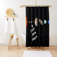 'Solar System Map' Shower Curtain by Personal Product Designers Solar System Map, Designers, Curtains, Shower, Prints, Decor, Rain Shower Heads, Blinds, Decoration