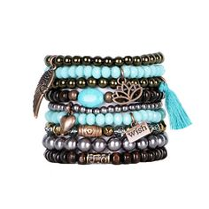 Beaded+Bracelets+Set+of+9+Stretch+Bracelets+Bohemian+Themed+Stack+with+Copper+Tone+Charms+and+Tassel