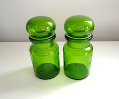 Green Apothecary Glass Jar Bottles with Bubble Lids by KimBuilt, $16.50