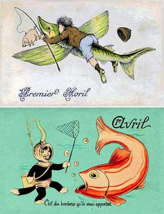 French postcards honoring April Fools Day